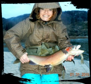 Gretchen Nelson with Lahontan (and its latest meal)